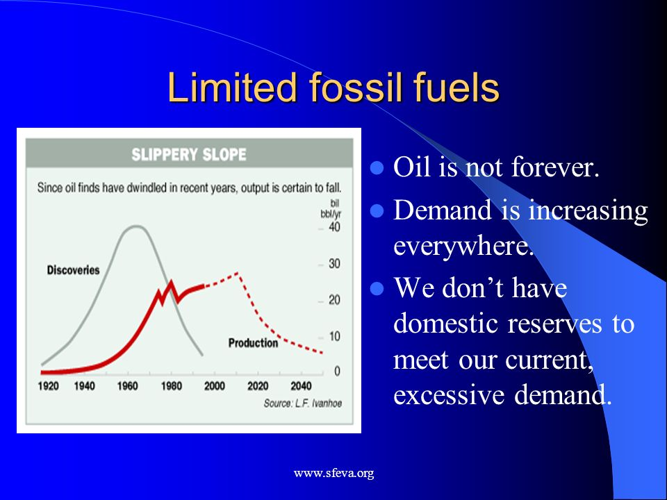 www.sfeva.org Limited fossil fuels Oil is not forever. Demand is increasing everywhere. We dont have domestic reserves to meet our current, excessive