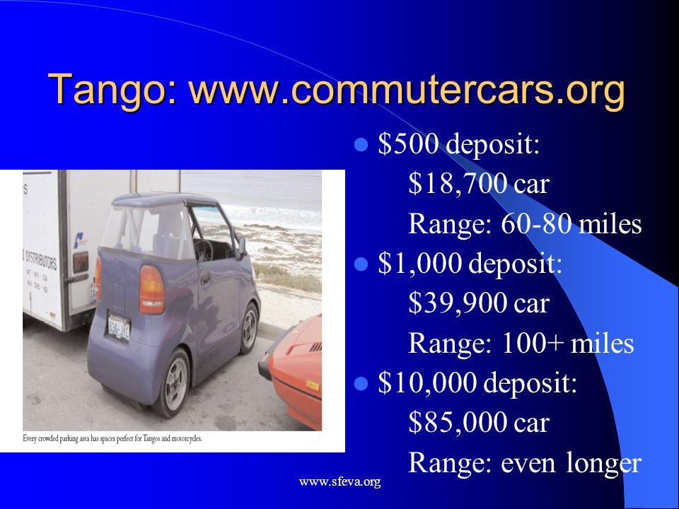 www.sfeva.org Tango: www.commutercars.org $500 deposit: $18,700 car Range: 60-80 miles $1,000 deposit: $39,900 car Range: 100+ miles $10,000 deposit: