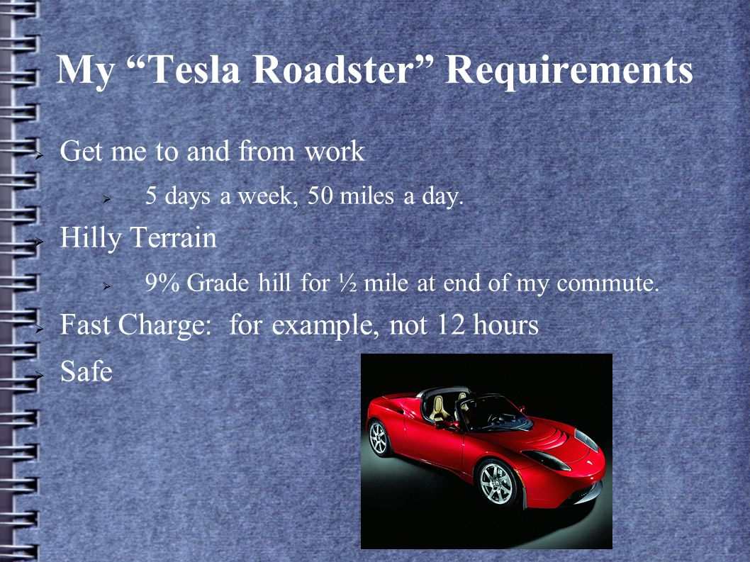 My Tesla Roadster Requirements Get me to and from work 5 days a week, 50 miles a day.