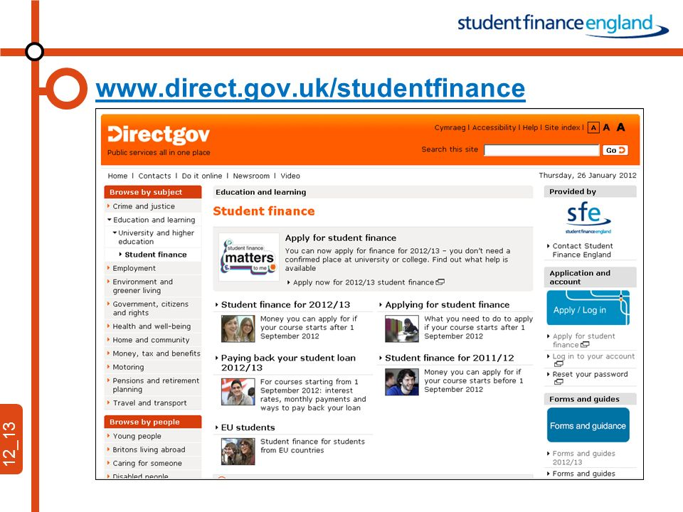 12_13 www.direct.gov.uk/studentfinance