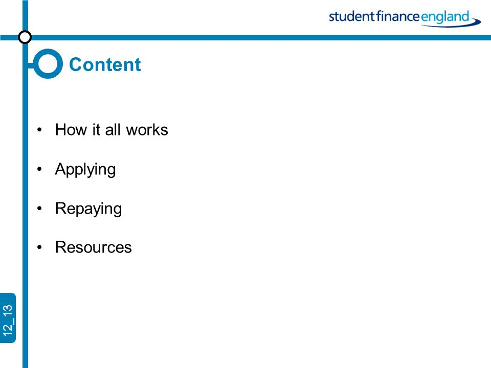12_13 Content How it all works Applying Repaying Resources