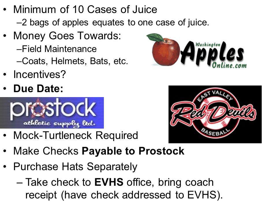 Minimum of 10 Cases of Juice –2 bags of apples equates to one case of juice. Money Goes Towards: –Field Maintenance –Coats, Helmets, Bats, etc. Incent