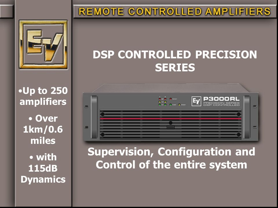 Supervision, Configuration and Control of the entire system DSP CONTROLLED PRECISION SERIES Up to 250 amplifiers Over 1km/0.6 miles with 115dB Dynamic
