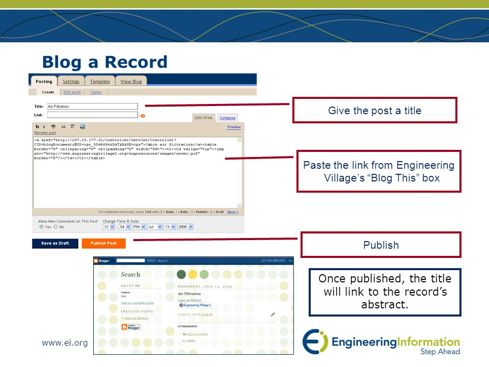 www.ei.org Blog a Record Once published, the title will link to the records abstract. Give the post a title Paste the link from Engineering Villages B