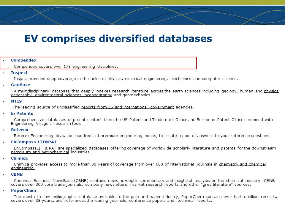www.ei.org EV comprises diversified databases Compendex Compendex covers over 175 engineering disciplines. Inspect Inspec provides deep coverage in th