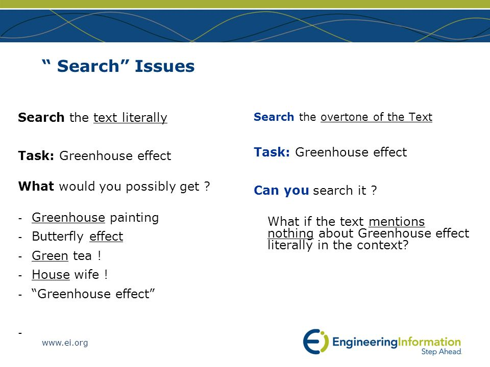 www.ei.org Search Issues Search the text literally Task: Greenhouse effect What would you possibly get ? - Greenhouse painting - Butterfly effect - Gr