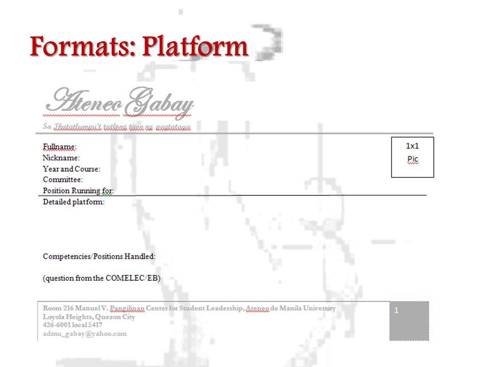 Formats: Platform