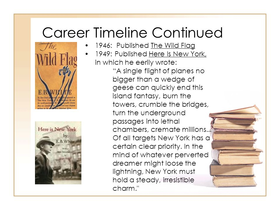 Career Timeline Continued 1946: Published The Wild Flag 1949: Published Here Is New York, in which he eerily wrote: A single flight of planes no bigge