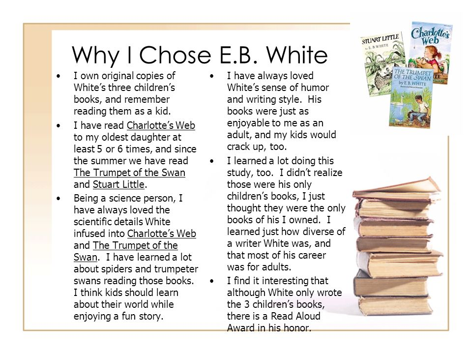 Why I Chose E.B. White I own original copies of Whites three childrens books, and remember reading them as a kid. I have read Charlottes Web to my old