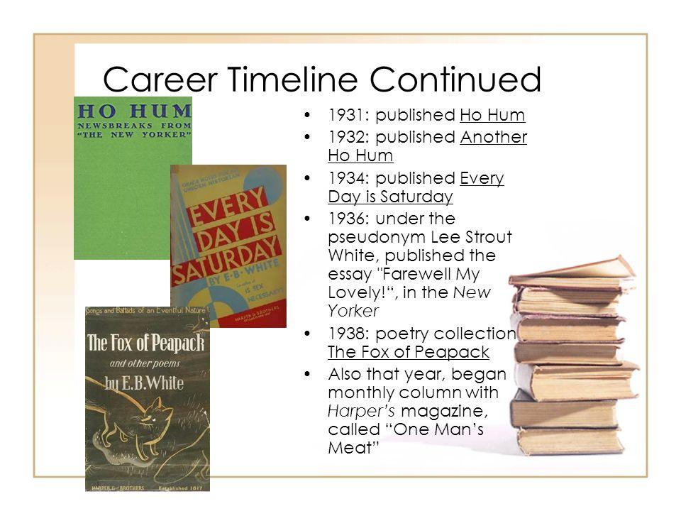 Career Timeline Continued 1931: published Ho Hum 1932: published Another Ho Hum 1934: published Every Day is Saturday 1936: under the pseudonym Lee St