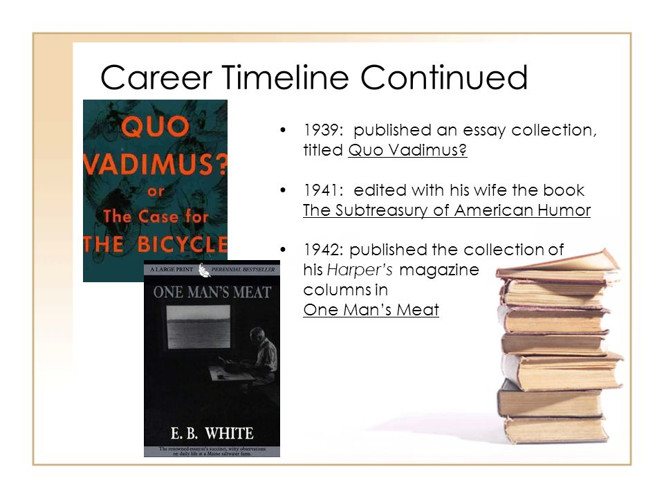 Career Timeline Continued 1939: published an essay collection, titled Quo Vadimus? 1941: edited with his wife the book The Subtreasury of American Hum