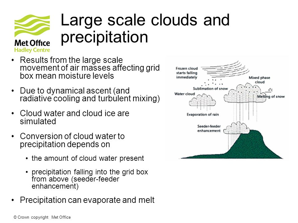 © Crown copyright Met Office Large scale clouds and precipitation Results from the large scale movement of air masses affecting grid box mean moisture