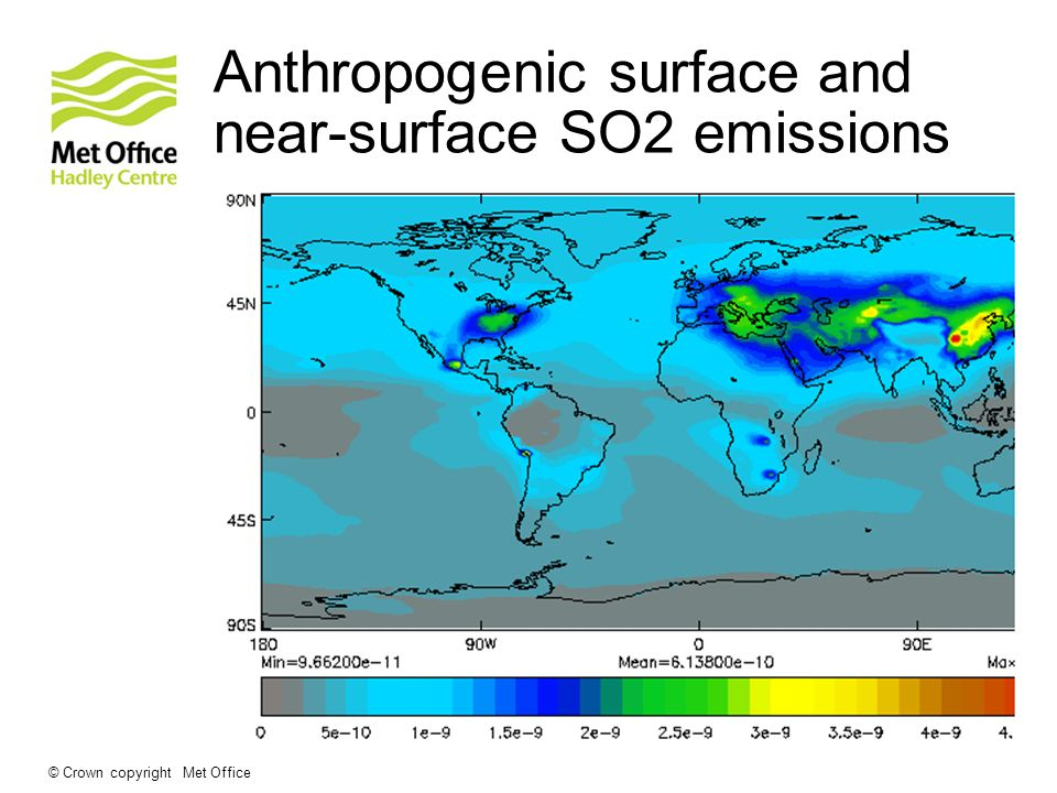 © Crown copyright Met Office Anthropogenic surface and near-surface SO2 emissions