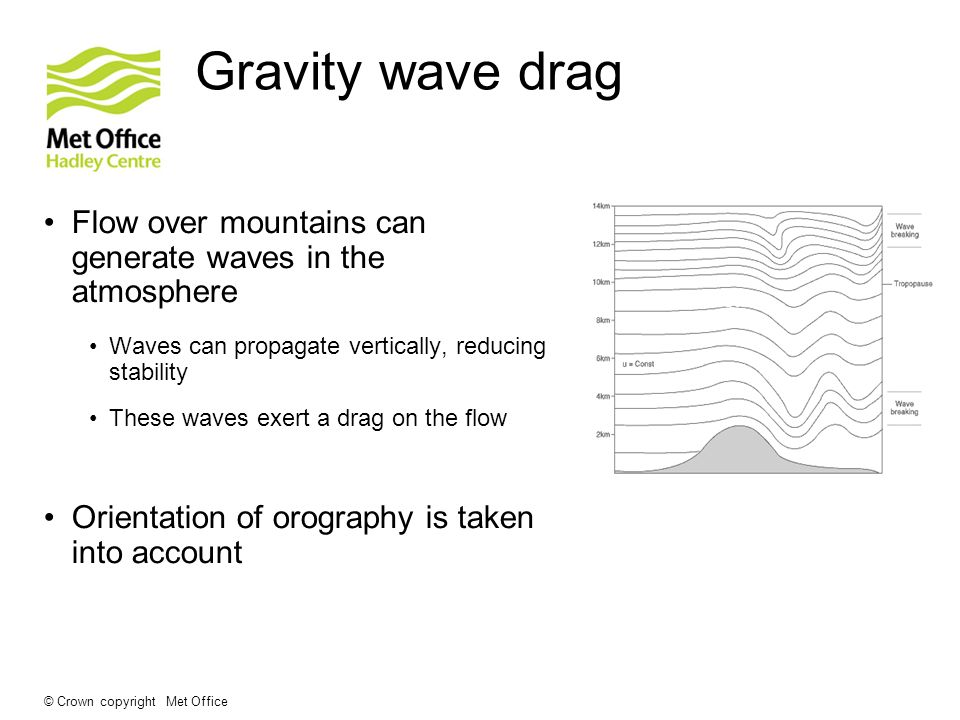 © Crown copyright Met Office Gravity wave drag Flow over mountains can generate waves in the atmosphere Waves can propagate vertically, reducing stabi