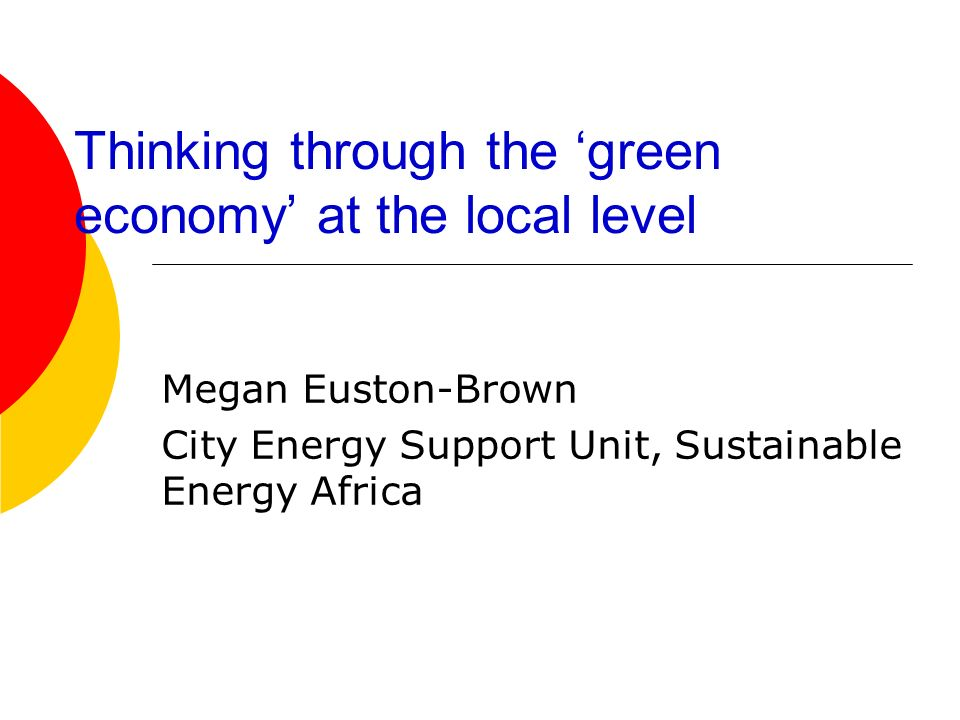 Thinking through the green economy at the local level Megan Euston-Brown City Energy Support Unit, Sustainable Energy Africa