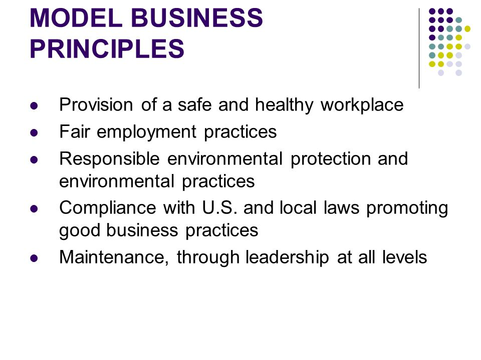 MODEL BUSINESS PRINCIPLES Provision of a safe and healthy workplace Fair employment practices Responsible environmental protection and environmental practices Compliance with U.S.