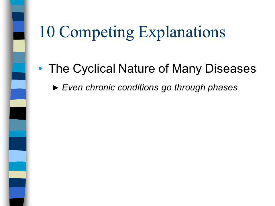 10 Competing Explanations The Cyclical Nature of Many Diseases Even chronic conditions go through phases