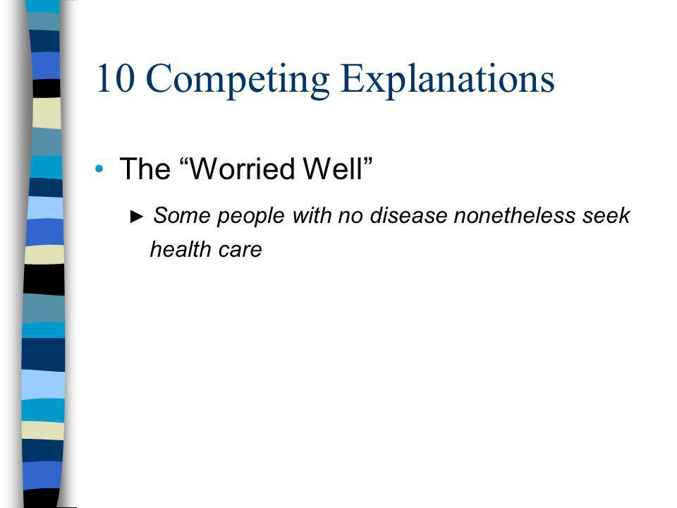 10 Competing Explanations The Worried Well Some people with no disease nonetheless seek health care