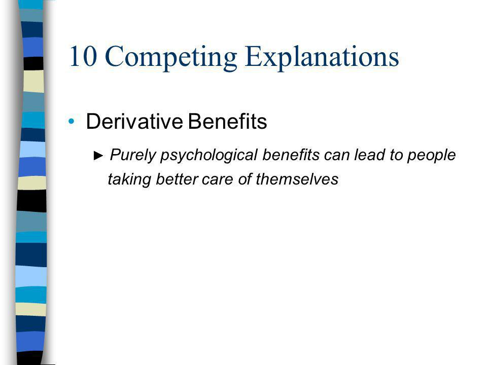 10 Competing Explanations Derivative Benefits Purely psychological benefits can lead to people taking better care of themselves
