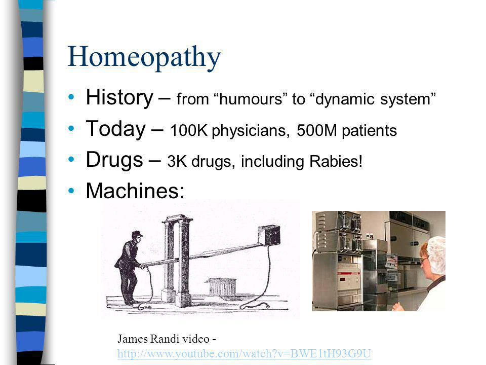 Homeopathy History – from humours to dynamic system Today – 100K physicians, 500M patients Drugs – 3K drugs, including Rabies.