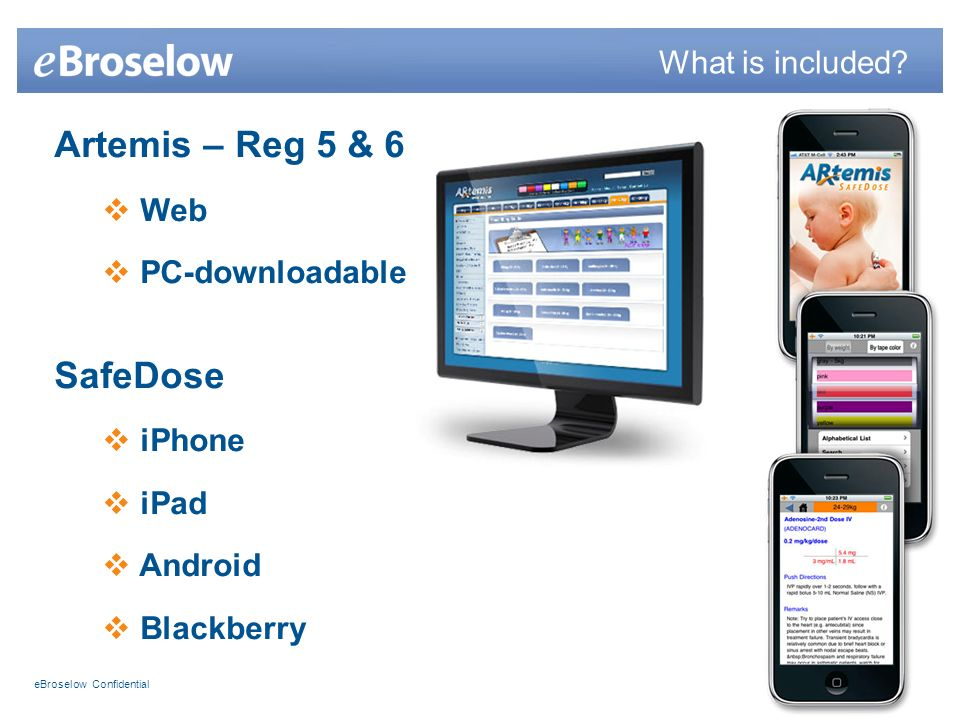 eBroselow Confidential Artemis – Reg 5 & 6 Web PC-downloadable SafeDose iPhone iPad Android Blackberry What is included?