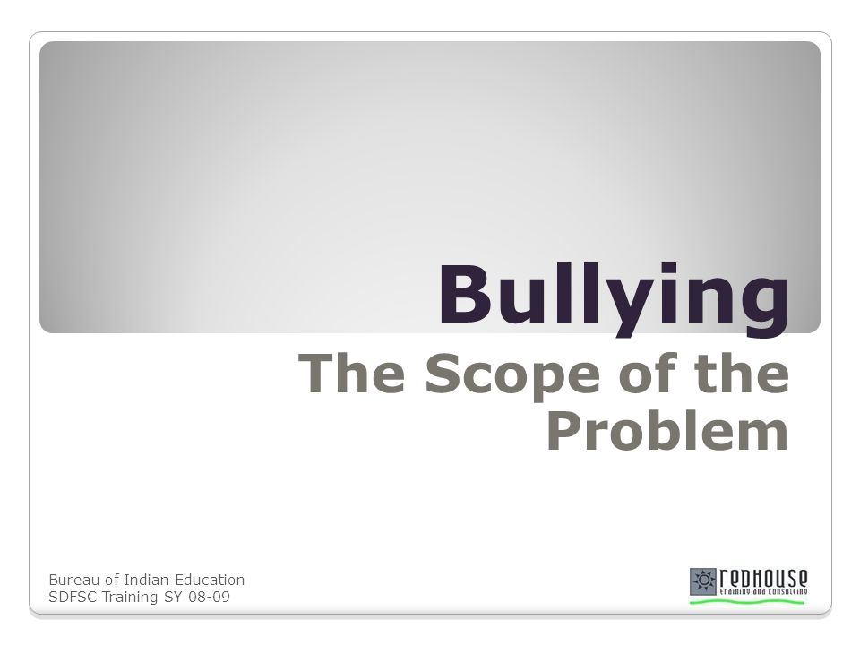 Bureau of Indian Education SDFSC Training SY 08-09 Bullying The Scope of the Problem