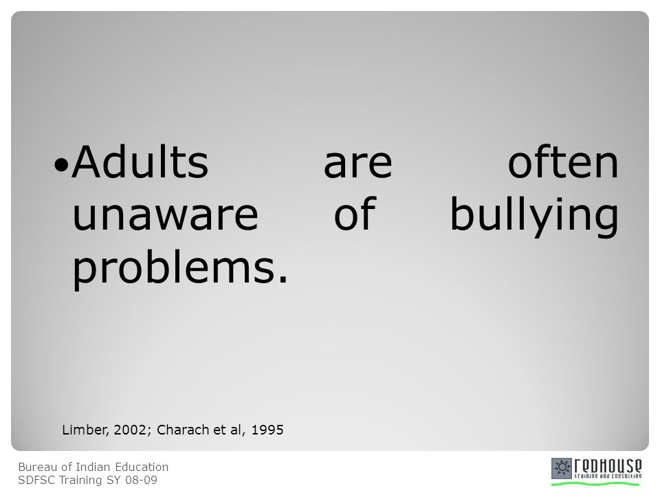Bureau of Indian Education SDFSC Training SY 08-09 Adults are often unaware of bullying problems. Limber, 2002; Charach et al, 1995