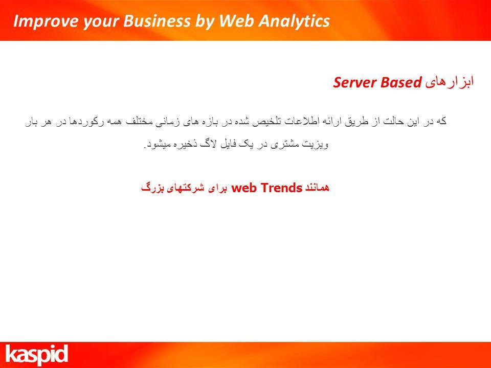 Improve your Business by Web Analytics ابزارهای Server Based که در این حالت از طریق ارائه اطلاعات تلخیص شده در بازه های زمانی مختلف همه رکوردها در هر