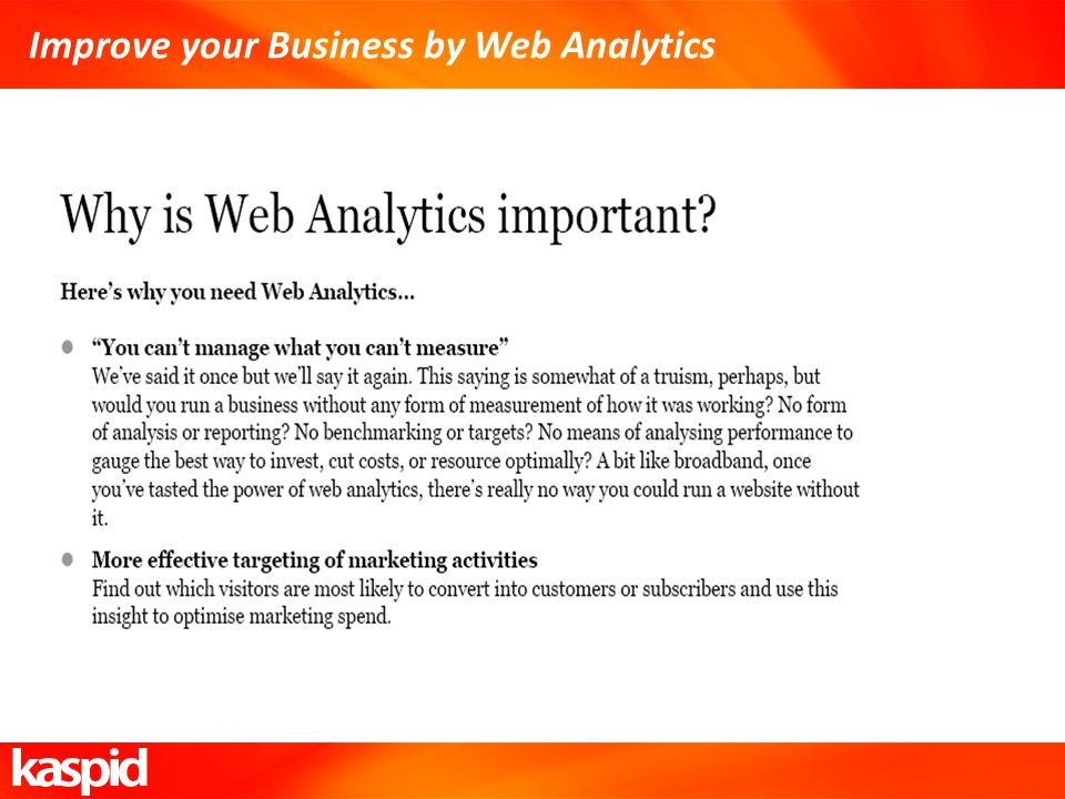Improve your Business by Web Analytics