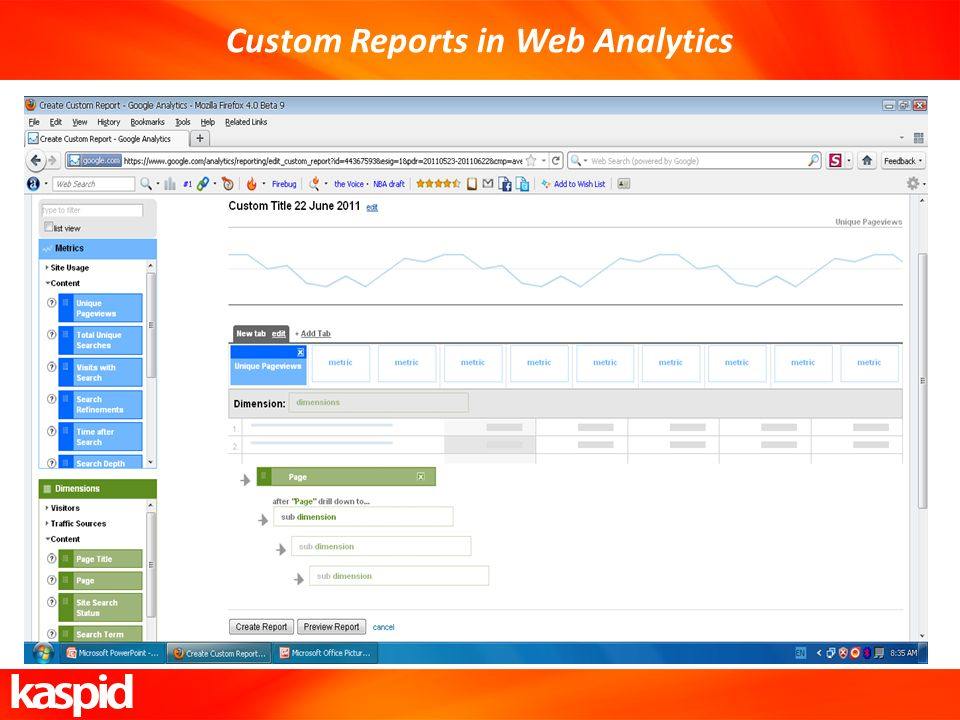Custom Reports in Web Analytics