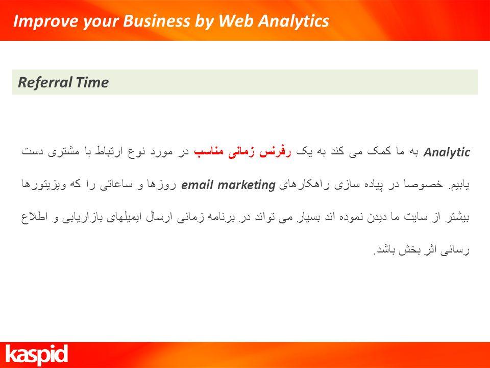 Improve your Business by Web Analytics Referral Time Analytic به ما کمک می کند به یک رفرنس زمانی مناسب در مورد نوع ارتباط با مشتری دست یابیم. خصوصا در