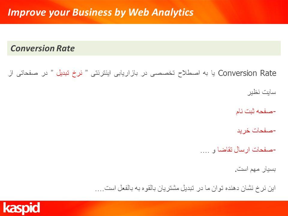 Improve your Business by Web Analytics Conversion Rate Conversion Rate یا به اصطلاح تخصصی در بازاریابی اینترنتی نرخ تبدیل در صفحاتی از سایت نظیر - صفح