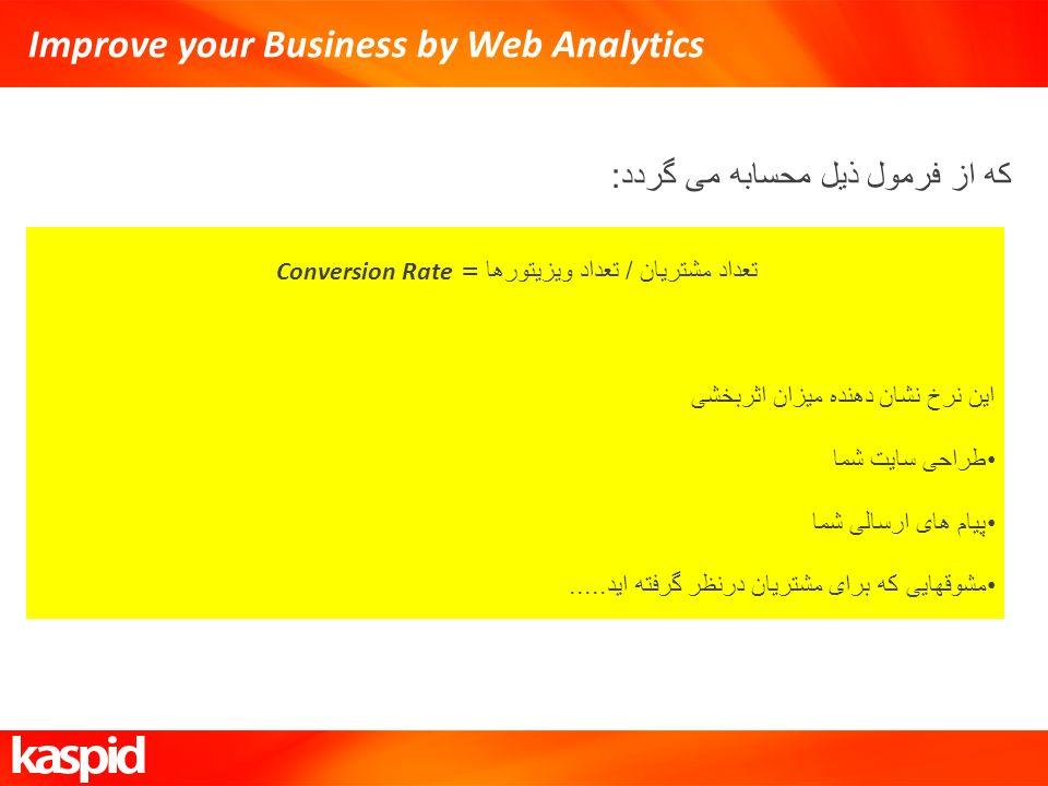 Improve your Business by Web Analytics که از فرمول ذیل محسابه می گردد : تعداد مشتریان / تعداد ویزیتورها = Conversion Rate این نرخ نشان دهنده میزان اثر