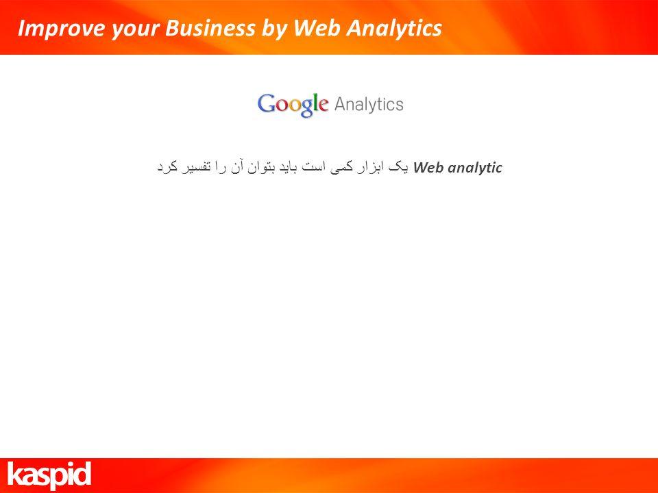 Improve your Business by Web Analytics Web analytic یک ابزار کمی است باید بتوان آن را تفسیر کرد