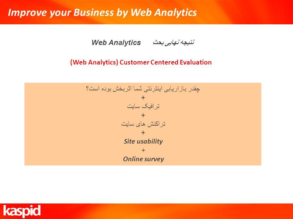 Improve your Business by Web Analytics نتیجه نهایی بحث Web Analytics (Web Analytics) Customer Centered Evaluation چقدر بازاریابی اینترنتی شما اثربخش ب