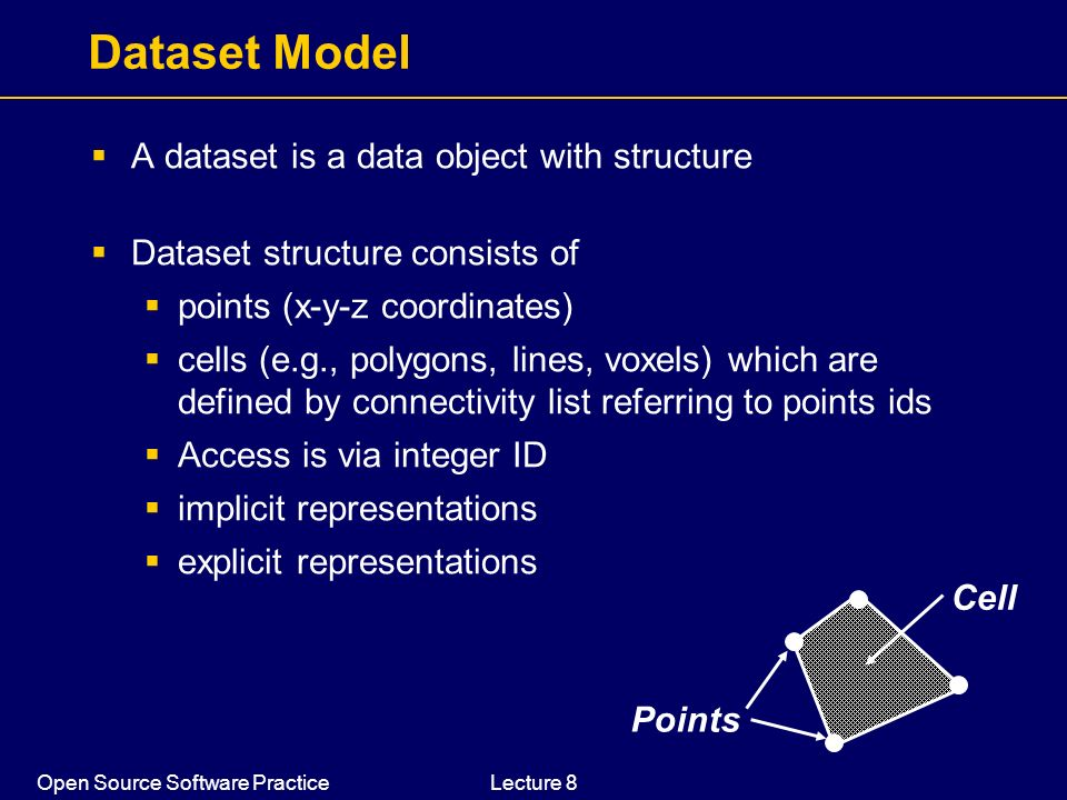 Open Source Software PracticeLecture 8 Dataset Model A dataset is a data object with structure Dataset structure consists of points (x-y-z coordinates