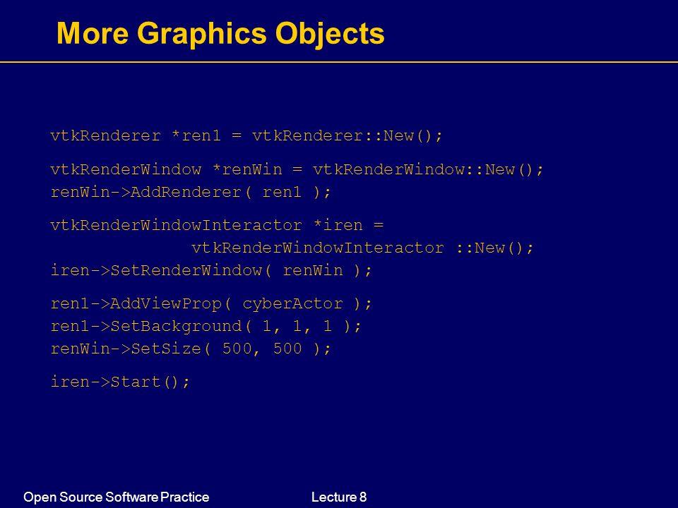 Open Source Software PracticeLecture 8 More Graphics Objects vtkRenderer *ren1 = vtkRenderer::New(); vtkRenderWindow *renWin = vtkRenderWindow::New();