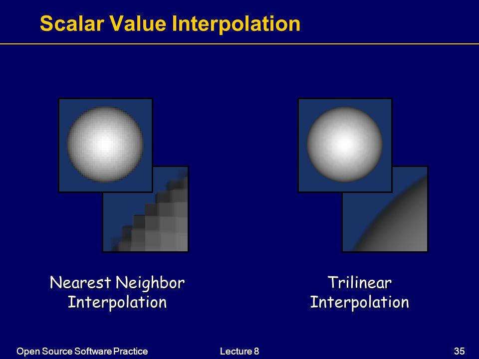 Open Source Software PracticeLecture 8 35 Scalar Value Interpolation Nearest Neighbor InterpolationTrilinearInterpolation