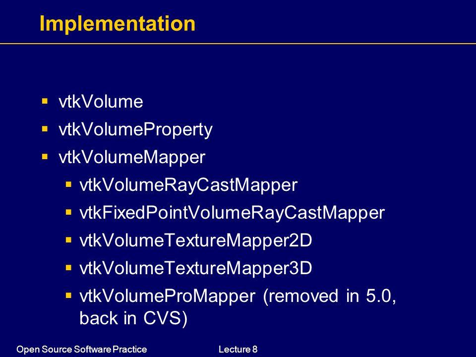 Open Source Software PracticeLecture 8 Implementation vtkVolume vtkVolumeProperty vtkVolumeMapper vtkVolumeRayCastMapper vtkFixedPointVolumeRayCastMap