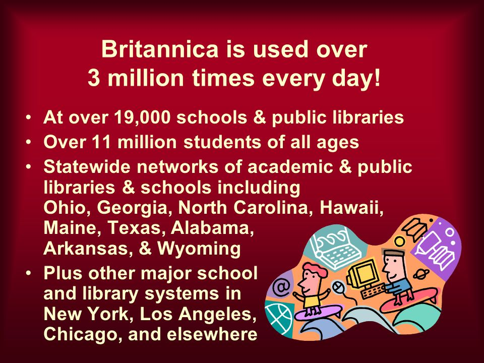 Britannica is used over 3 million times every day.