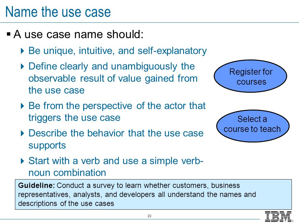 20 Name the use case A use case name should: Be unique, intuitive, and self-explanatory Define clearly and unambiguously the observable result of valu