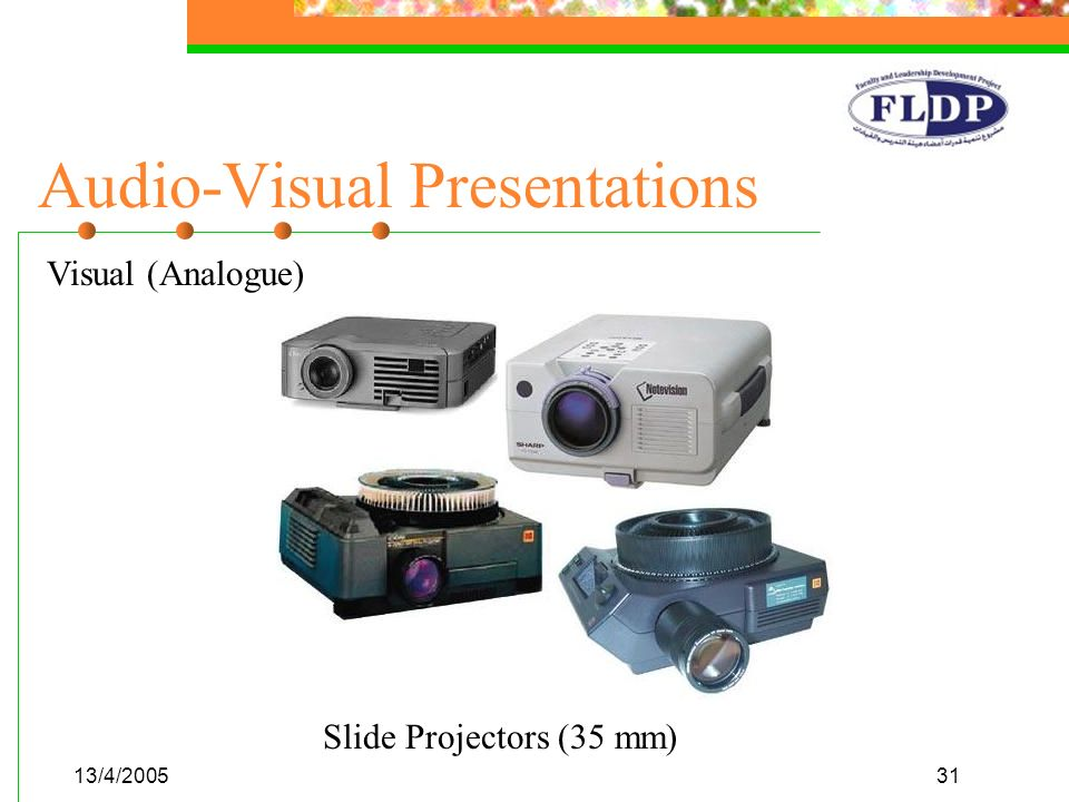 13/4/200531 Audio-Visual Presentations Visual (Analogue) Slide Projectors (35 mm)