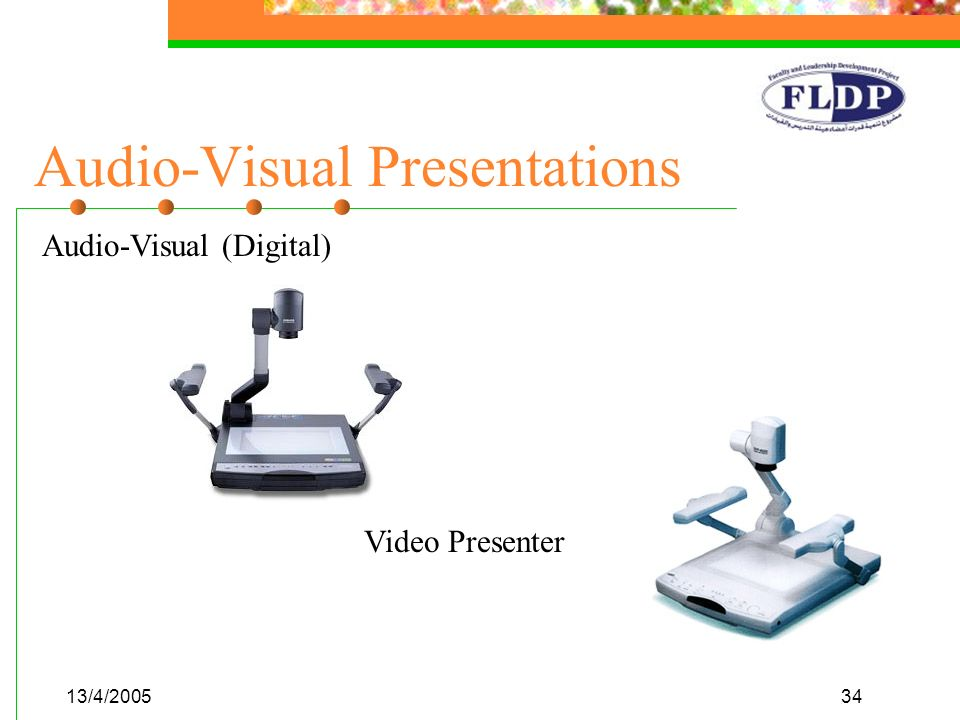 13/4/200534 Audio-Visual Presentations Video Presenter Audio-Visual (Digital)
