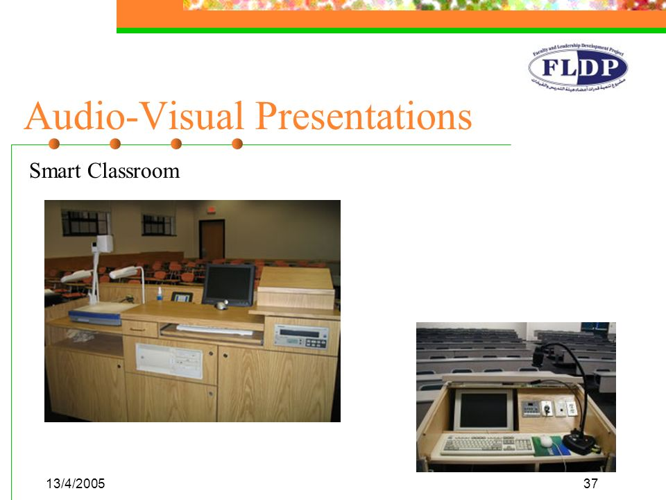 13/4/200537 Audio-Visual Presentations Smart Classroom
