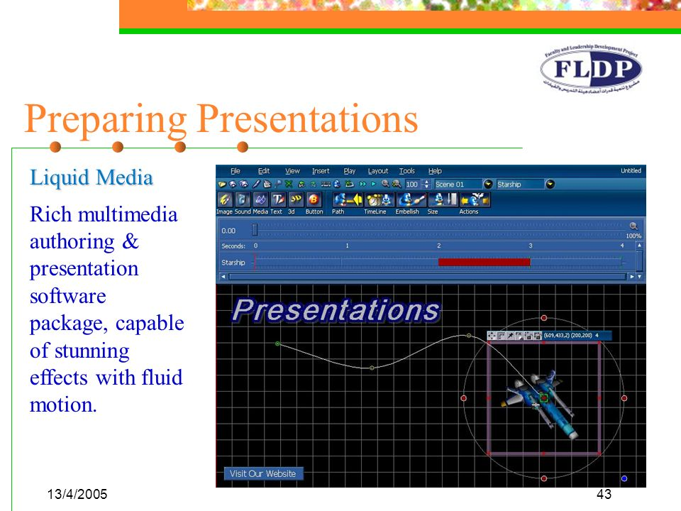 13/4/200543 Preparing Presentations Liquid Media Rich multimedia authoring & presentation software package, capable of stunning effects with fluid mot