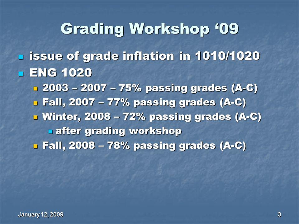 January 12, 20093 Grading Workshop 09 issue of grade inflation in 1010/1020 issue of grade inflation in 1010/1020 ENG 1020 ENG 1020 2003 – 2007 – 75% passing grades (A-C) 2003 – 2007 – 75% passing grades (A-C) Fall, 2007 – 77% passing grades (A-C) Fall, 2007 – 77% passing grades (A-C) Winter, 2008 – 72% passing grades (A-C) Winter, 2008 – 72% passing grades (A-C) after grading workshop after grading workshop Fall, 2008 – 78% passing grades (A-C) Fall, 2008 – 78% passing grades (A-C)