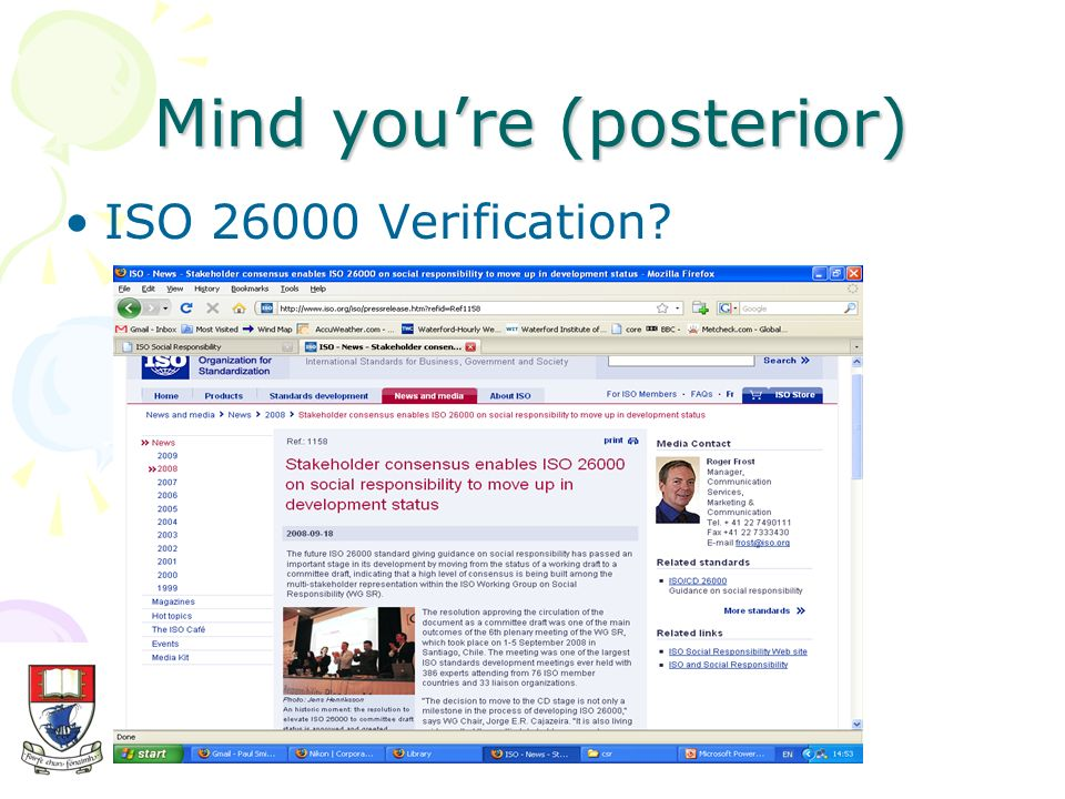 Mind youre (posterior) ISO 26000 Verification?