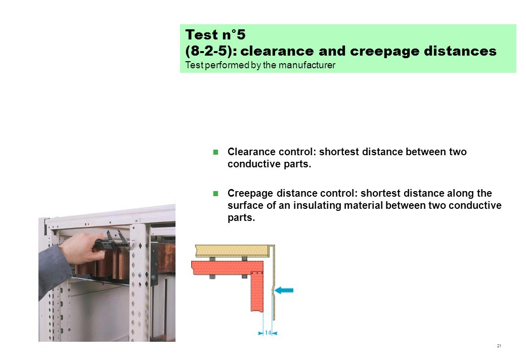 21 Clearance control: shortest distance between two conductive parts. Creepage distance control: shortest distance along the surface of an insulating