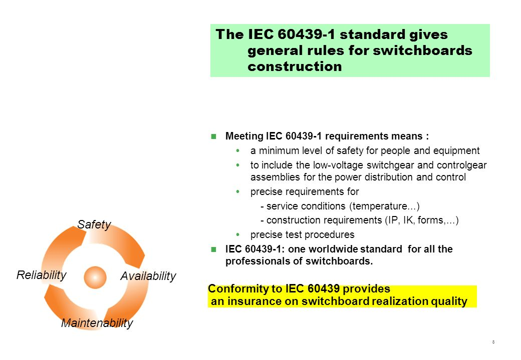 8 Meeting IEC 60439-1 requirements means : a minimum level of safety for people and equipment to include the low-voltage switchgear and controlgear as