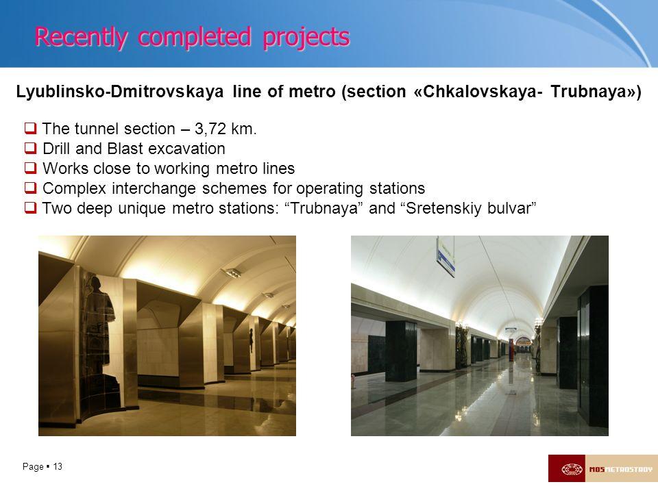 Page 13 Lyublinsko-Dmitrovskaya line of metro (section «Chkalovskaya- Trubnaya») The tunnel section – 3,72 km. Drill and Blast excavation Works close